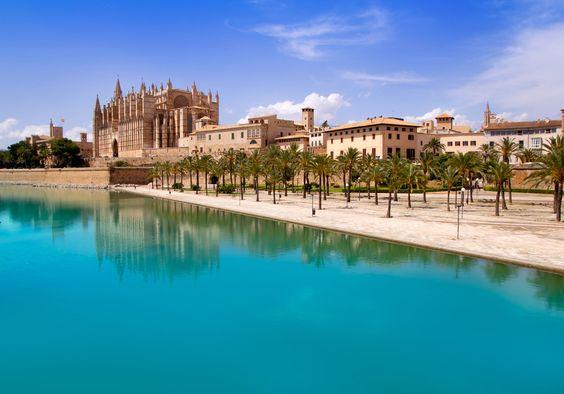 Majorca La seu Cathedral and Almudaina from Palma de Mallorca in Spain